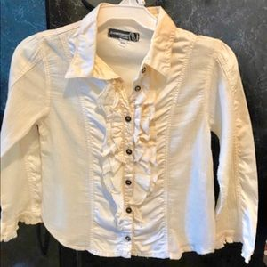 Button Down Cream Ruffled Girls Lon…